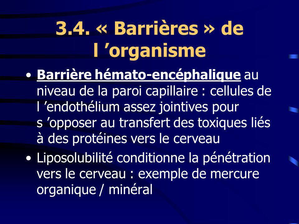 3.4. « Barrières » de l organisme Barrière hémato-encéphalique au niveau de la paroi capillaire : cellules de l endothélium assez jointives pour s opp