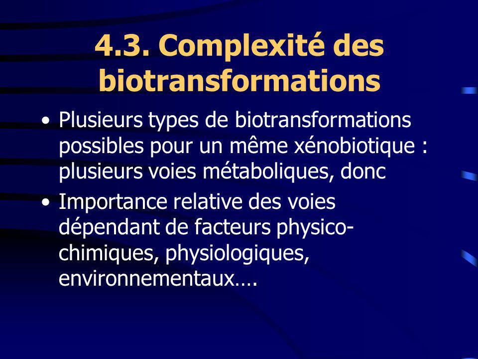 4.3. Complexité des biotransformations Plusieurs types de biotransformations possibles pour un même xénobiotique : plusieurs voies métaboliques, donc