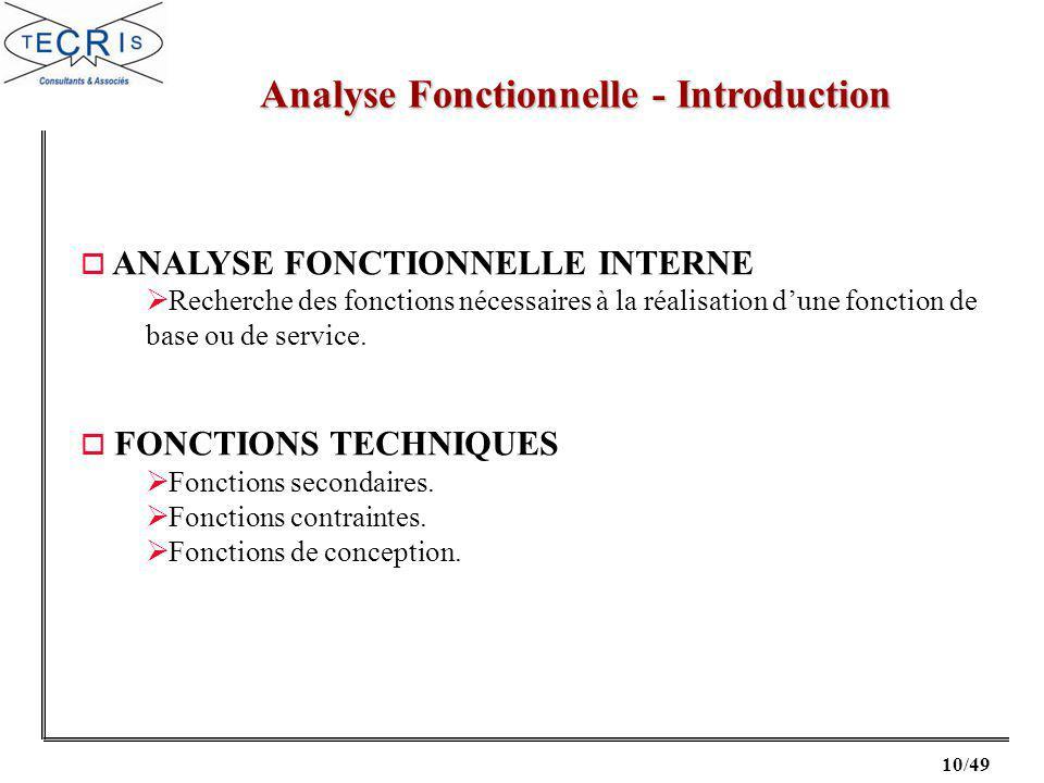 10/49 Analyse Fonctionnelle - Introduction o ANALYSE FONCTIONNELLE INTERNE Recherche des fonctions nécessaires à la réalisation dune fonction de base ou de service.