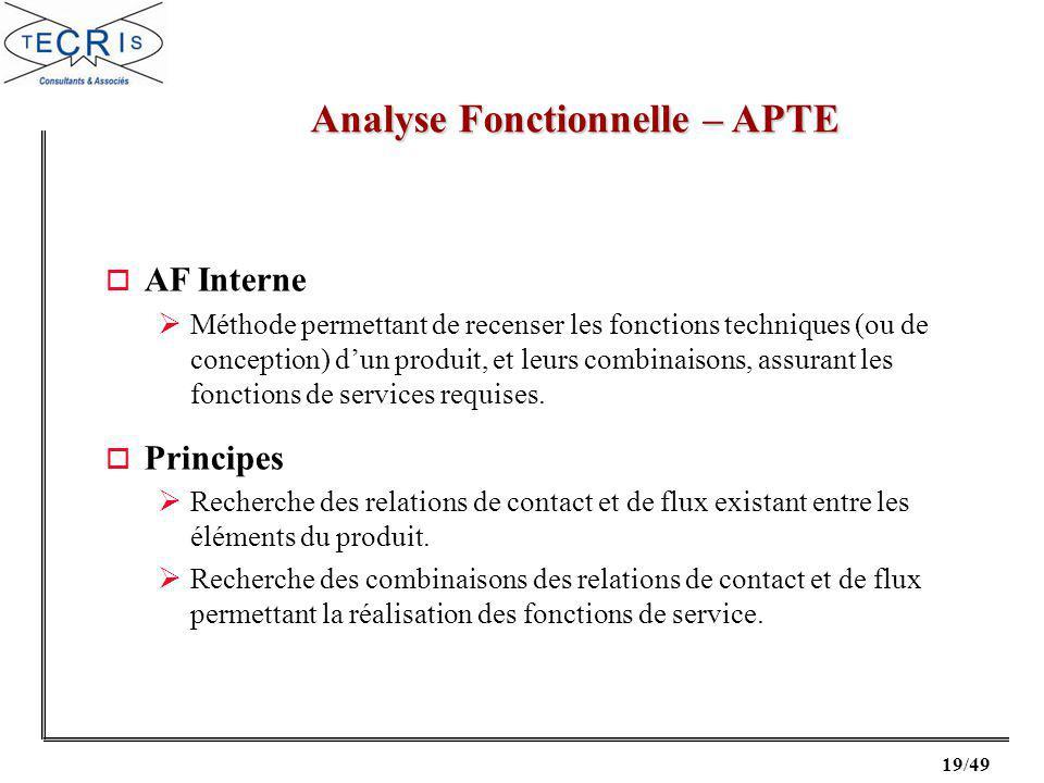 19/49 Analyse Fonctionnelle – APTE o AF Interne Méthode permettant de recenser les fonctions techniques (ou de conception) dun produit, et leurs combinaisons, assurant les fonctions de services requises.