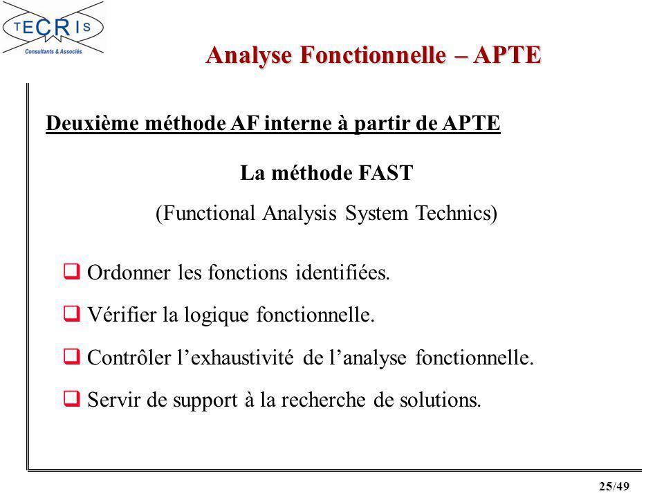 25/49 Analyse Fonctionnelle – APTE Deuxième méthode AF interne à partir de APTE La méthode FAST (Functional Analysis System Technics) Ordonner les fonctions identifiées.
