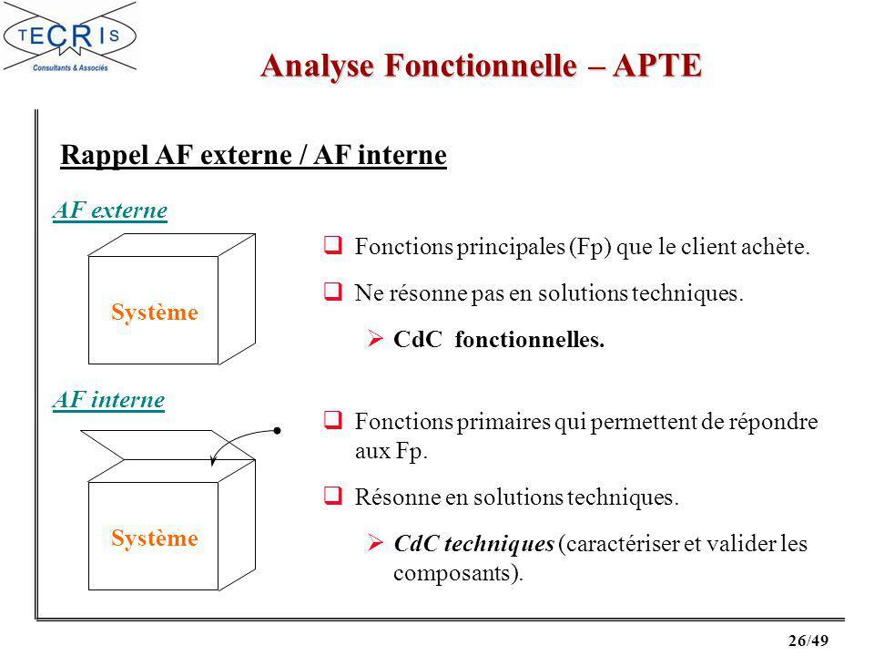 26/49 Analyse Fonctionnelle – APTE Rappel AF externe / AF interne Système AF externe Fonctions principales (Fp) que le client achète.