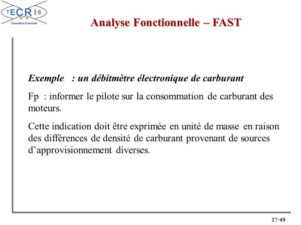 27/49 Analyse Fonctionnelle – FAST Exemple : un débitmètre électronique de carburant Fp : informer le pilote sur la consommation de carburant des moteurs.