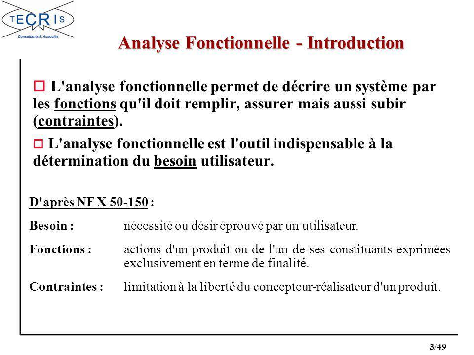 3/49 o L analyse fonctionnelle permet de décrire un système par les fonctions qu il doit remplir, assurer mais aussi subir (contraintes).