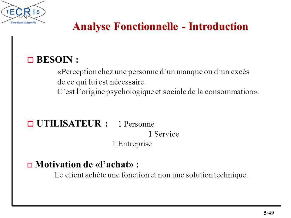 5/49 Analyse Fonctionnelle - Introduction o BESOIN : «Perception chez une personne dun manque ou dun excès de ce qui lui est nécessaire.