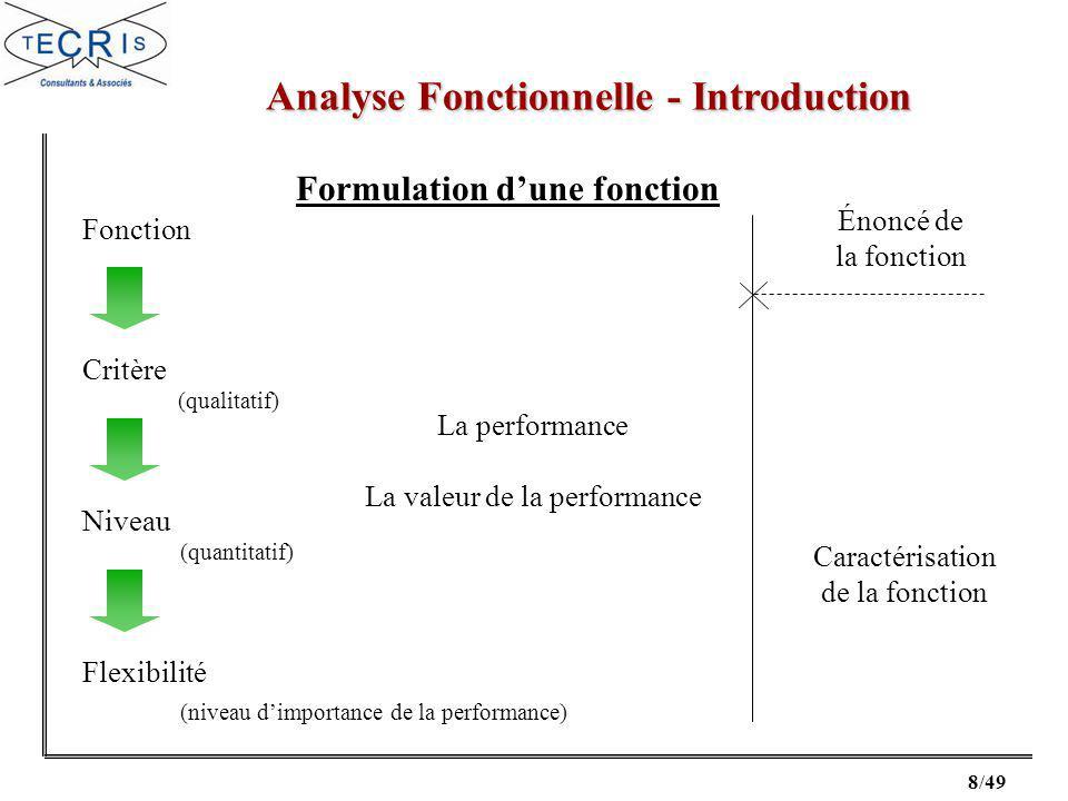 8/49 Analyse Fonctionnelle - Introduction Fonction Critère Niveau Flexibilité (qualitatif) (quantitatif) (niveau dimportance de la performance) La performance La valeur de la performance Énoncé de la fonction Caractérisation de la fonction Formulation dune fonction
