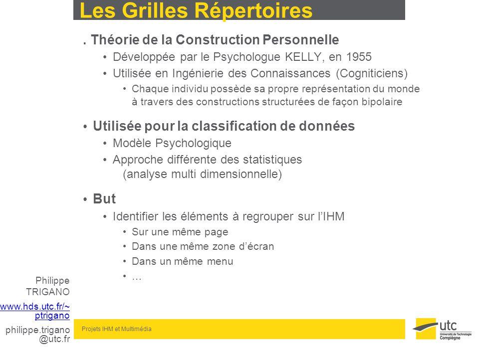 www.hds.utc.fr/~ ptrigano philippe.trigano @utc.fr Projets IHM et Multimédia Les Grilles Répertoires. Théorie de la Construction Personnelle Développé