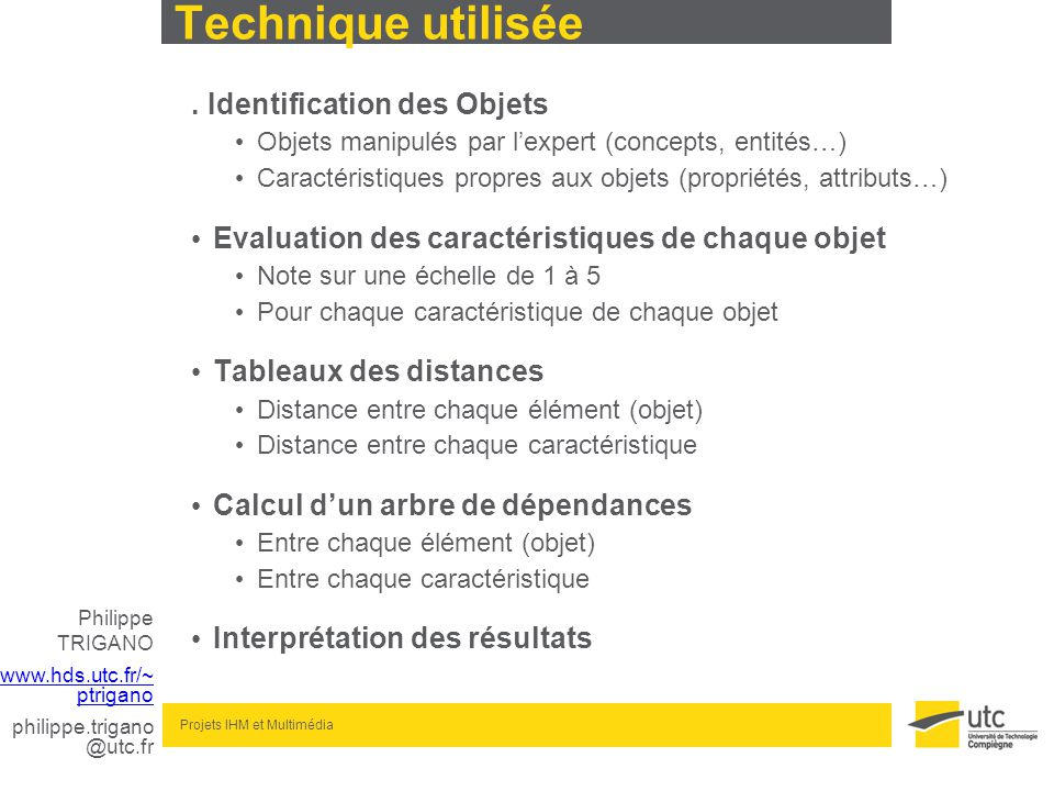 Philippe TRIGANO www.hds.utc.fr/~ ptrigano philippe.trigano @utc.fr Projets IHM et Multimédia Technique utilisée. Identification des Objets Objets man