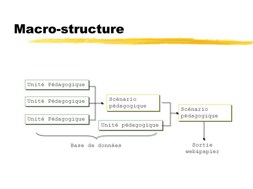Macro-structure Unité Pédagogique Unité pédagogique Scénario pédagogique Base de données Sortie web&papier Unité Pédagogique