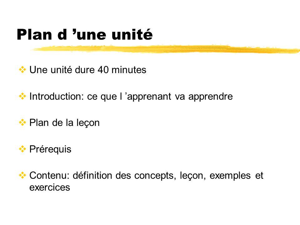 Plan d une unité Une unité dure 40 minutes Introduction: ce que l apprenant va apprendre Plan de la leçon Prérequis Contenu: définition des concepts,