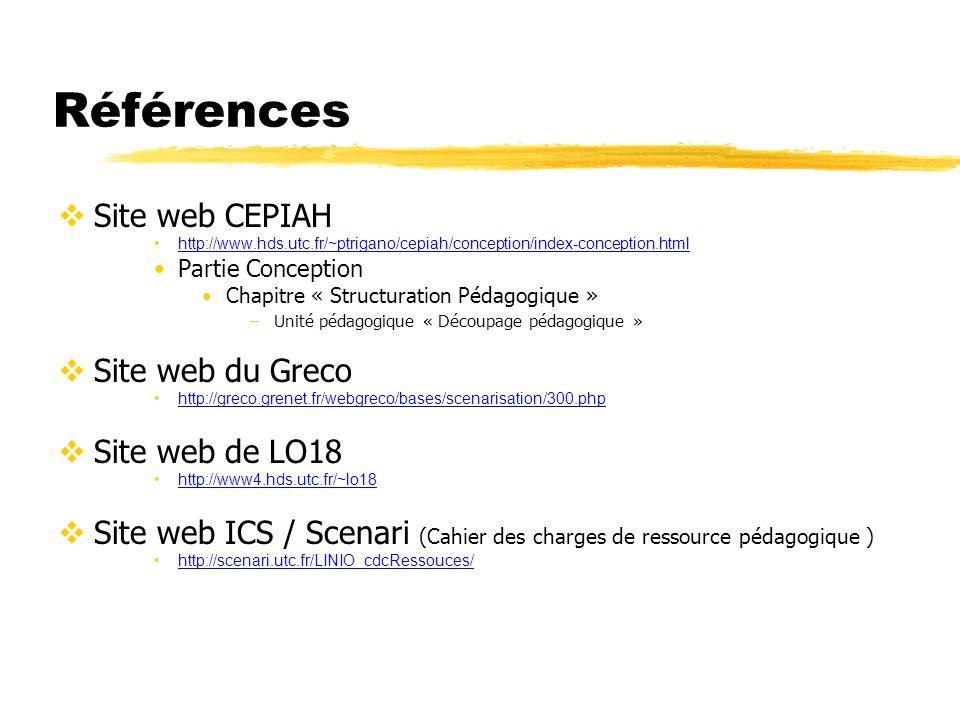Références Site web CEPIAH http://www.hds.utc.fr/~ptrigano/cepiah/conception/index-conception.html Partie Conception Chapitre « Structuration Pédagogi