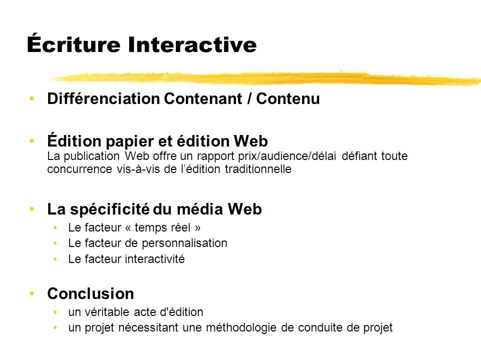Écriture Interactive Différenciation Contenant / Contenu Édition papier et édition Web La publication Web offre un rapport prix/audience/délai défiant