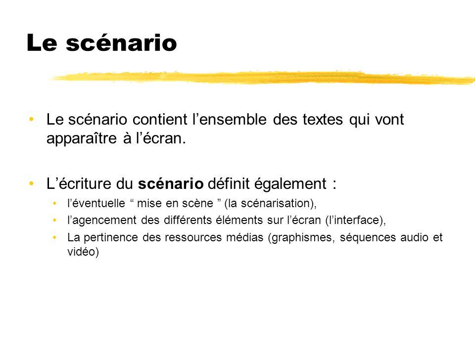 Le scénario Le scénario contient lensemble des textes qui vont apparaître à lécran. Lécriture du scénario définit également : léventuelle mise en scèn
