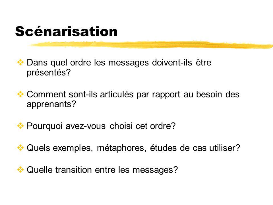 Scénarisation Dans quel ordre les messages doivent-ils être présentés? Comment sont-ils articulés par rapport au besoin des apprenants? Pourquoi avez-