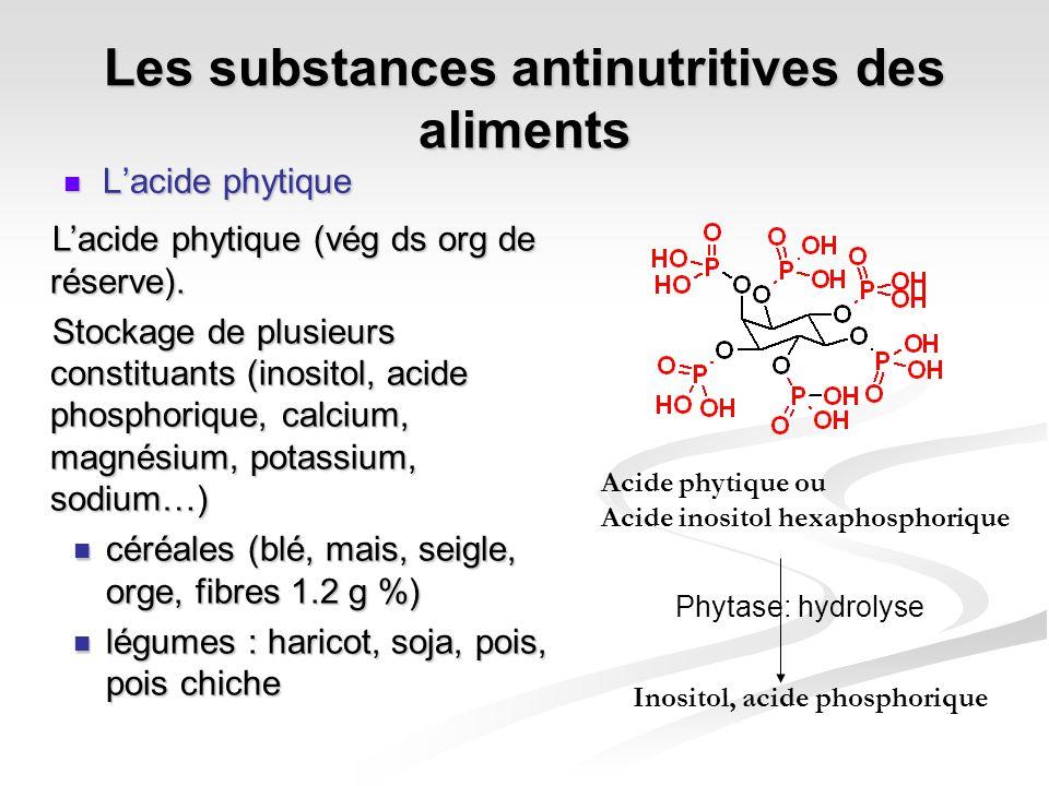 Les substances antinutritives des aliments Lacide phytique Lacide phytique Lacide phytique (vég ds org de réserve). Stockage de plusieurs constituants