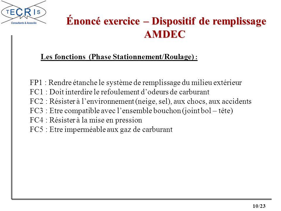 10/23 Énoncé exercice – Dispositif de remplissage Énoncé exercice – Dispositif de remplissageAMDEC Les fonctions (Phase Stationnement/Roulage) : FP1 :