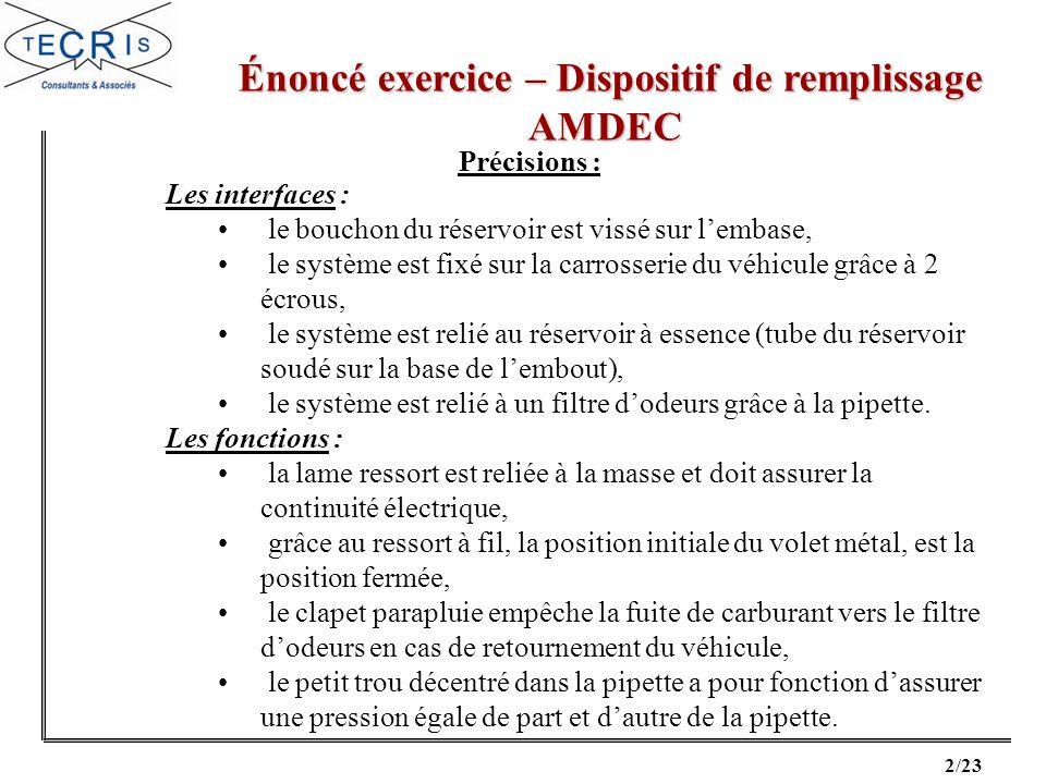 13/23 Correction exercice – Dispositif de remplissage Correction exercice – Dispositif de remplissageAMDEC