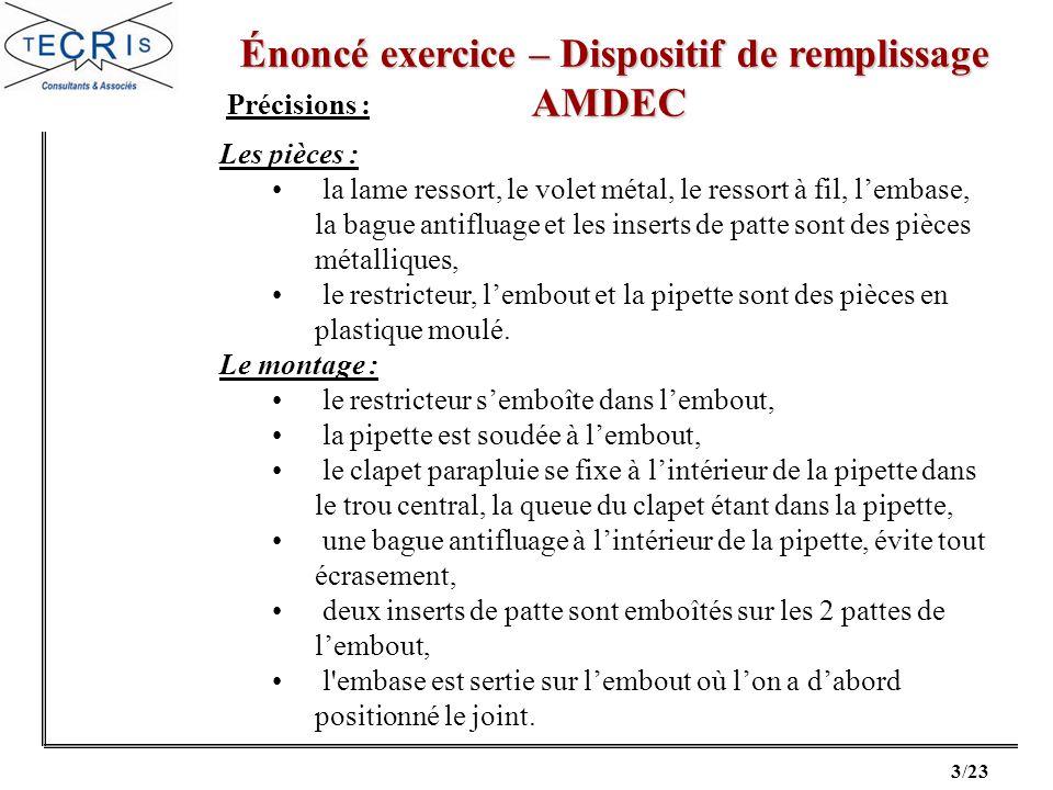 14/23 Correction exercice – Dispositif de remplissage Correction exercice – Dispositif de remplissageAMDEC