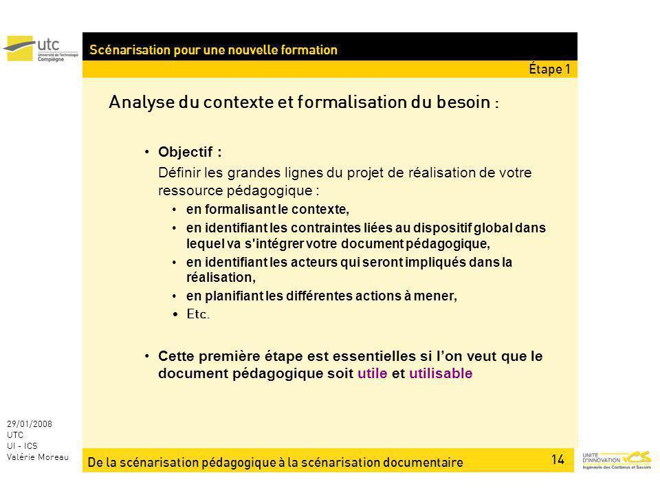 De la scénarisation pédagogique à la scénarisation documentaire 14 29/01/2008 UTC UI - ICS Valérie Moreau Analyse du contexte et formalisation du beso
