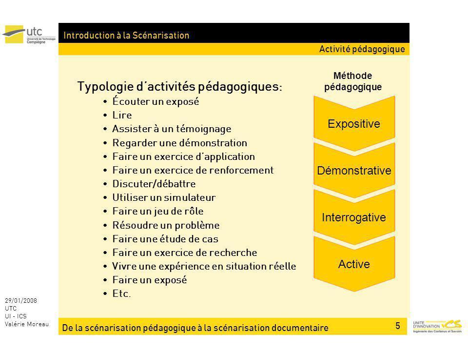 De la scénarisation pédagogique à la scénarisation documentaire 5 29/01/2008 UTC UI - ICS Valérie Moreau Introduction à la Scénarisation Typologie dac