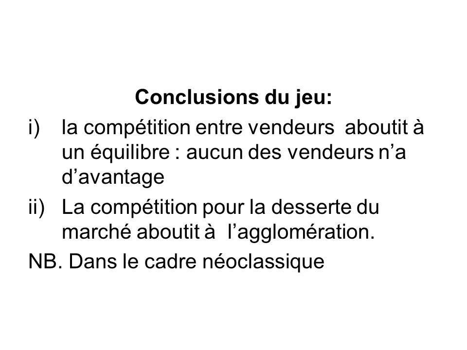 Conclusions du jeu: i)la compétition entre vendeurs aboutit à un équilibre : aucun des vendeurs na davantage ii)La compétition pour la desserte du mar