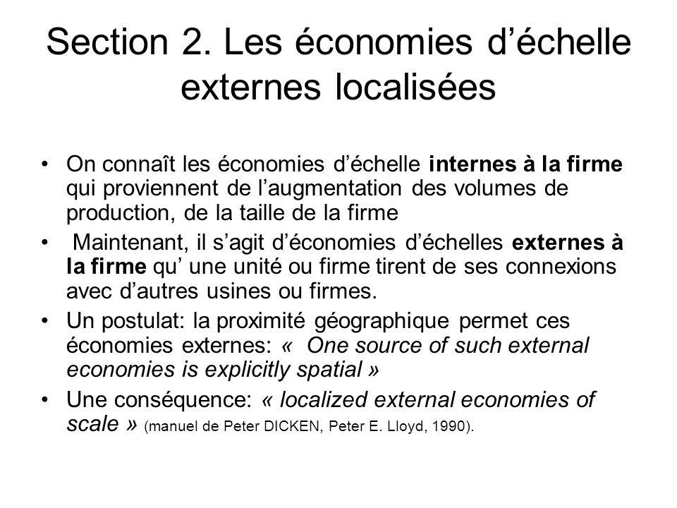 Section 2. Les économies déchelle externes localisées On connaît les économies déchelle internes à la firme qui proviennent de laugmentation des volum