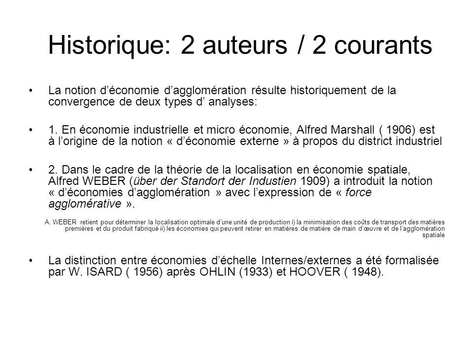 Historique: 2 auteurs / 2 courants La notion déconomie dagglomération résulte historiquement de la convergence de deux types d analyses: 1. En économi
