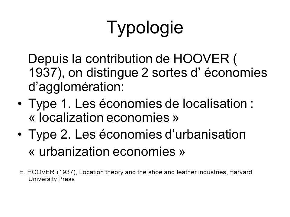 Typologie Depuis la contribution de HOOVER ( 1937), on distingue 2 sortes d économies dagglomération: Type 1. Les économies de localisation : « locali