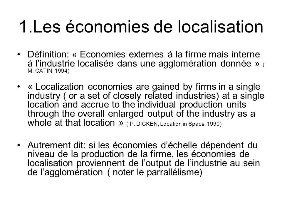 1.Les économies de localisation Définition: « Economies externes à la firme mais interne à lindustrie localisée dans une agglomération donnée » ( M. C