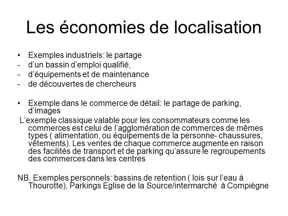 Les économies de localisation Exemples industriels: le partage -dun bassin demploi qualifié, -déquipements et de maintenance -de découvertes de cherch