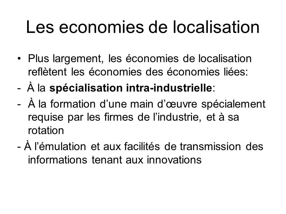 Les economies de localisation Plus largement, les économies de localisation reflètent les économies des économies liées: - À la spécialisation intra-i
