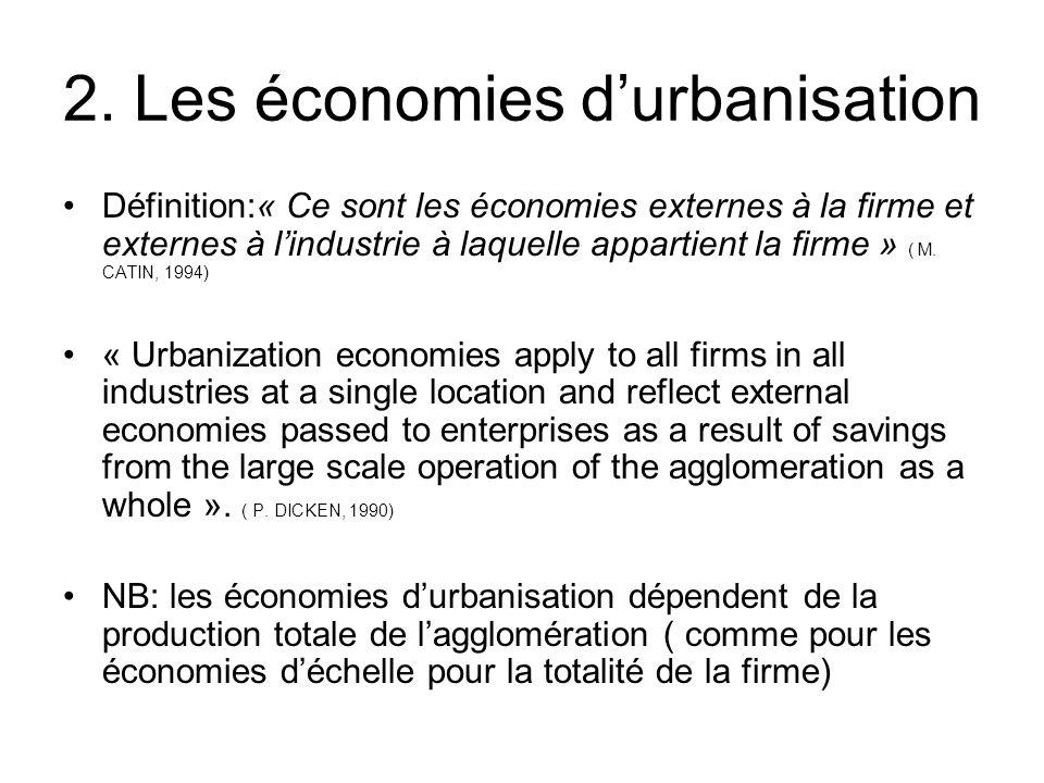 2. Les économies durbanisation Définition:« Ce sont les économies externes à la firme et externes à lindustrie à laquelle appartient la firme » ( M. C