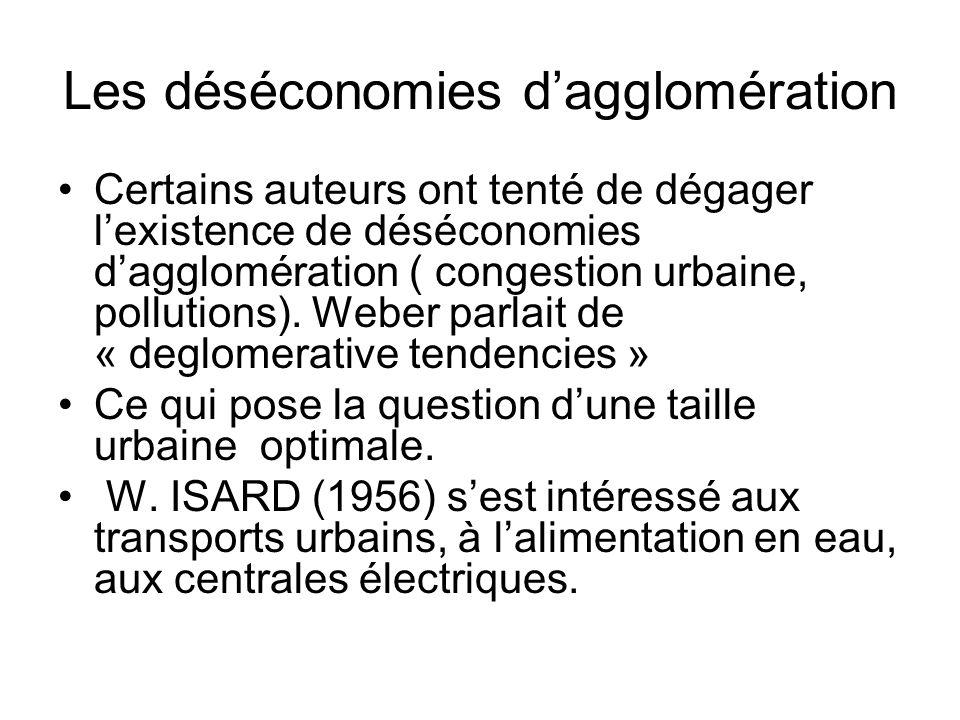 Les déséconomies dagglomération Certains auteurs ont tenté de dégager lexistence de déséconomies dagglomération ( congestion urbaine, pollutions). Web