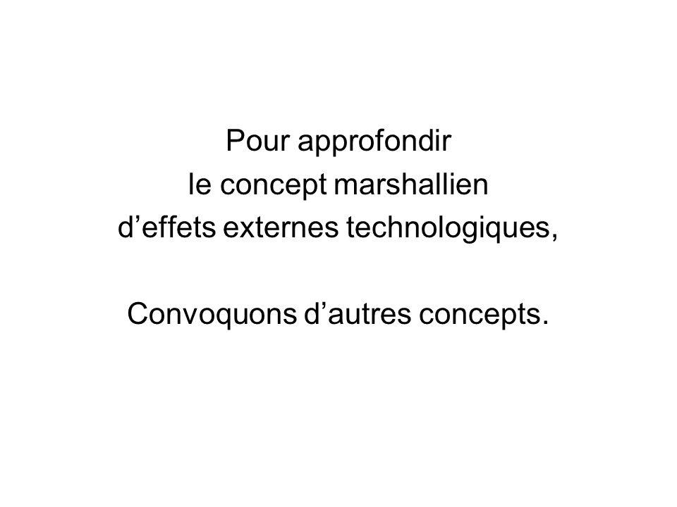 Pour approfondir le concept marshallien deffets externes technologiques, Convoquons dautres concepts.