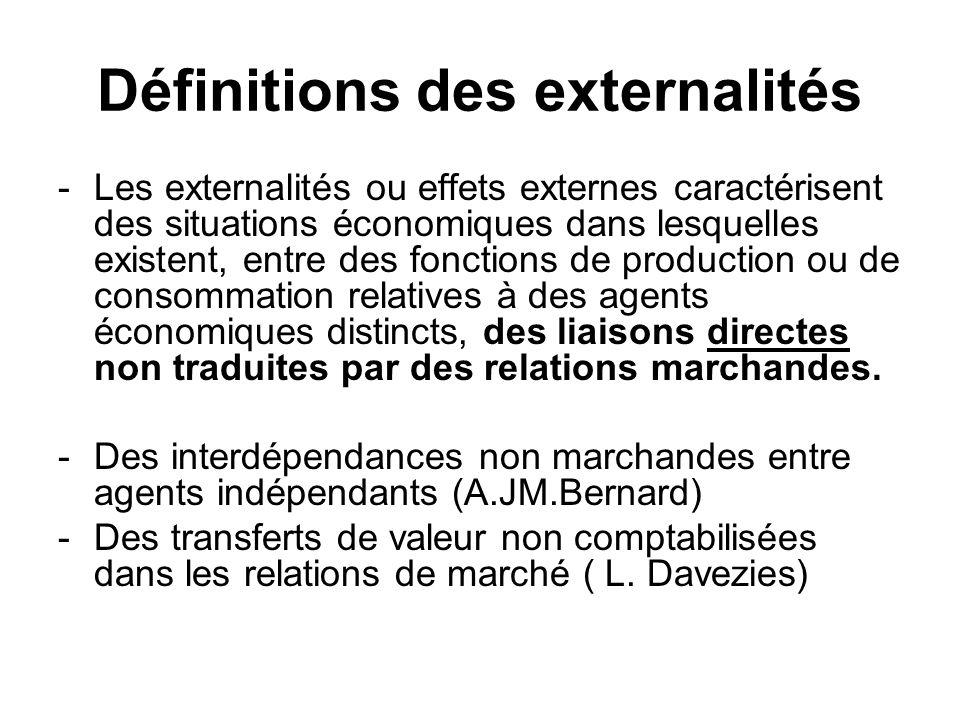 Définitions des externalités -Les externalités ou effets externes caractérisent des situations économiques dans lesquelles existent, entre des fonctio