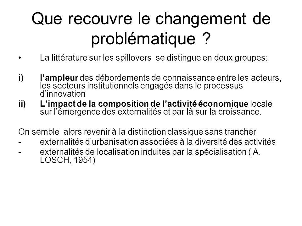 Que recouvre le changement de problématique ? La littérature sur les spillovers se distingue en deux groupes: i)lampleur des débordements de connaissa