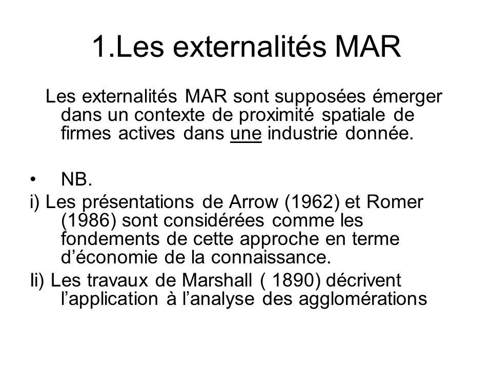 1.Les externalités MAR Les externalités MAR sont supposées émerger dans un contexte de proximité spatiale de firmes actives dans une industrie donnée.