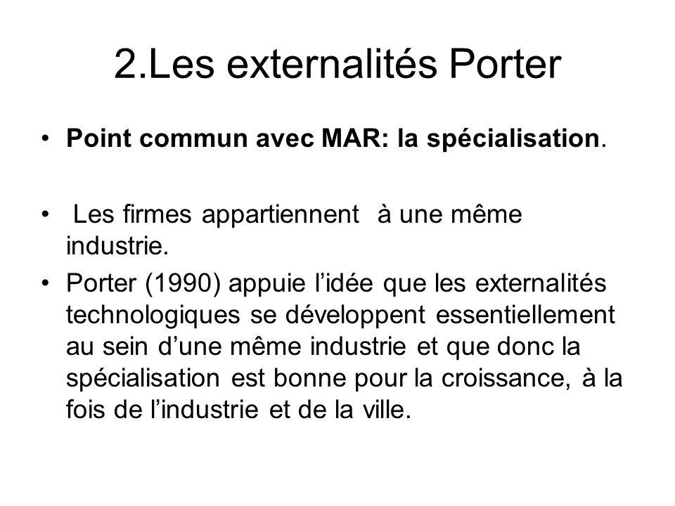 2.Les externalités Porter Point commun avec MAR: la spécialisation. Les firmes appartiennent à une même industrie. Porter (1990) appuie lidée que les