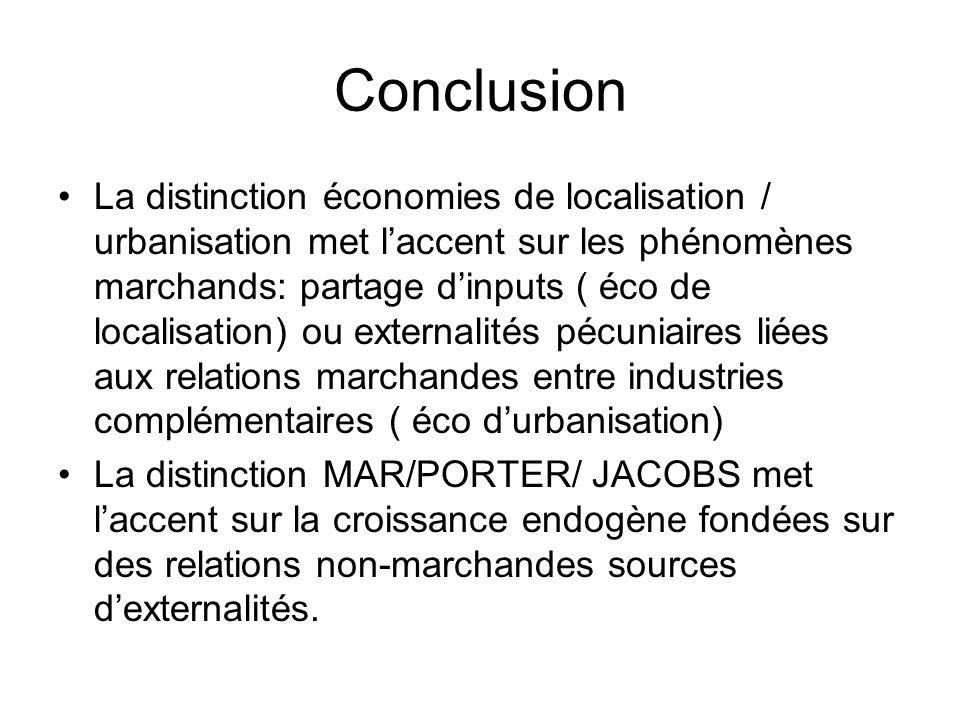 Conclusion La distinction économies de localisation / urbanisation met laccent sur les phénomènes marchands: partage dinputs ( éco de localisation) ou