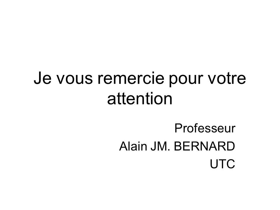 Je vous remercie pour votre attention Professeur Alain JM. BERNARD UTC