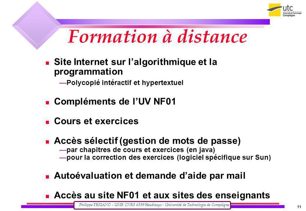 Philippe TRIGANO - UMR CNRS 6599 Heudiasyc - Université de Technologie de Compiègne 11 Site Internet sur lalgorithmique et la programmation Polycopié