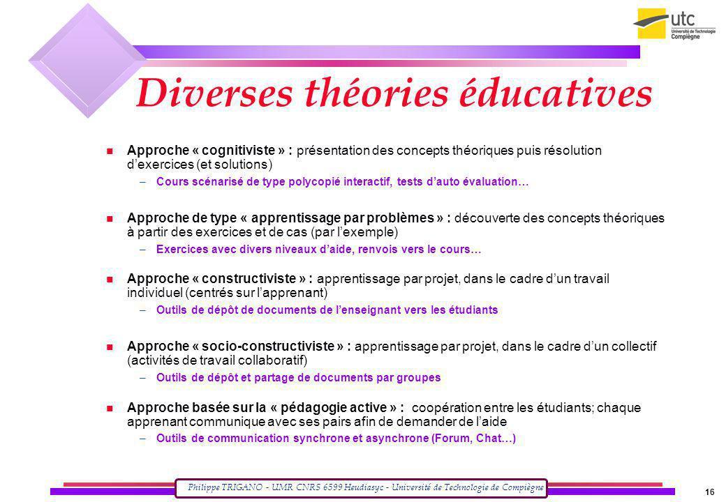 Philippe TRIGANO - UMR CNRS 6599 Heudiasyc - Université de Technologie de Compiègne 16 Approche « cognitiviste » : présentation des concepts théorique