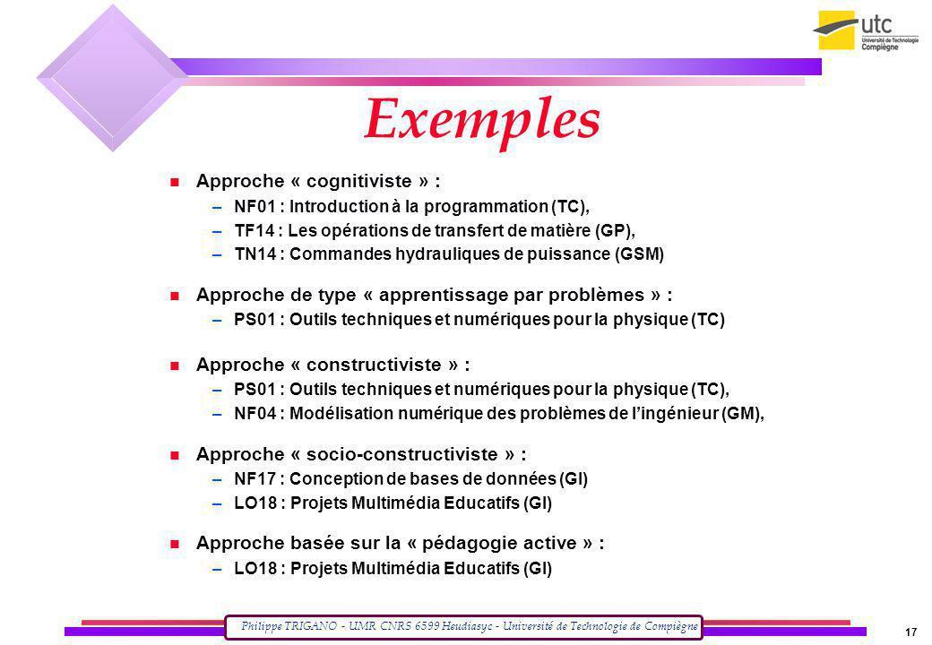 Philippe TRIGANO - UMR CNRS 6599 Heudiasyc - Université de Technologie de Compiègne 17 Exemples Approche « cognitiviste » : –NF01 : Introduction à la