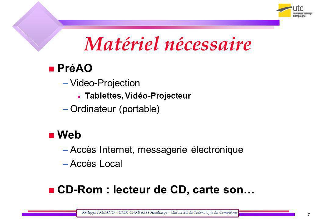 Philippe TRIGANO - UMR CNRS 6599 Heudiasyc - Université de Technologie de Compiègne 7 Matériel nécessaire PréAO –Video-Projection Tablettes, Vidéo-Pro
