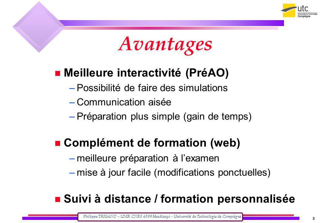 Philippe TRIGANO - UMR CNRS 6599 Heudiasyc - Université de Technologie de Compiègne 8 Avantages Meilleure interactivité (PréAO) –Possibilité de faire