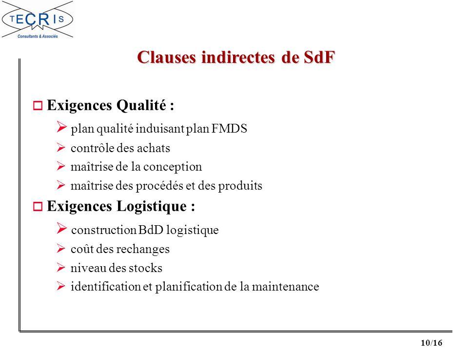 10/16 o Exigences Qualité : plan qualité induisant plan FMDS contrôle des achats maîtrise de la conception maîtrise des procédés et des produits o Exi