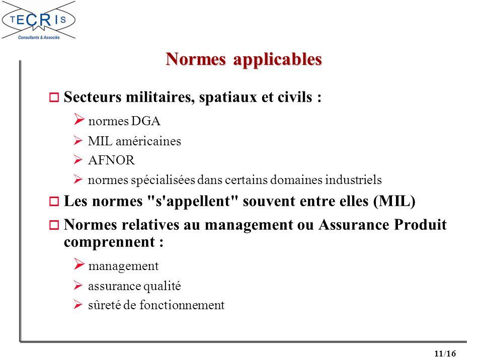 11/16 o Secteurs militaires, spatiaux et civils : normes DGA MIL américaines AFNOR normes spécialisées dans certains domaines industriels o Les normes