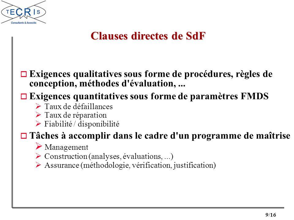 9/16 o Exigences qualitatives sous forme de procédures, règles de conception, méthodes d'évaluation,... o Exigences quantitatives sous forme de paramè