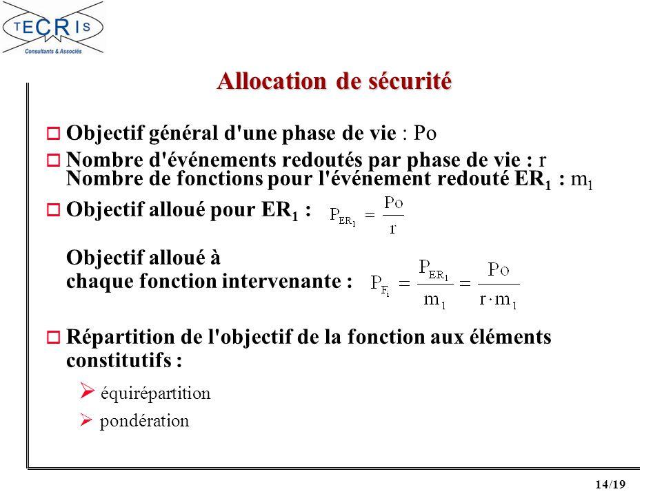 14/19 o Objectif général d'une phase de vie : Po o Nombre d'événements redoutés par phase de vie : r Nombre de fonctions pour l'événement redouté ER 1