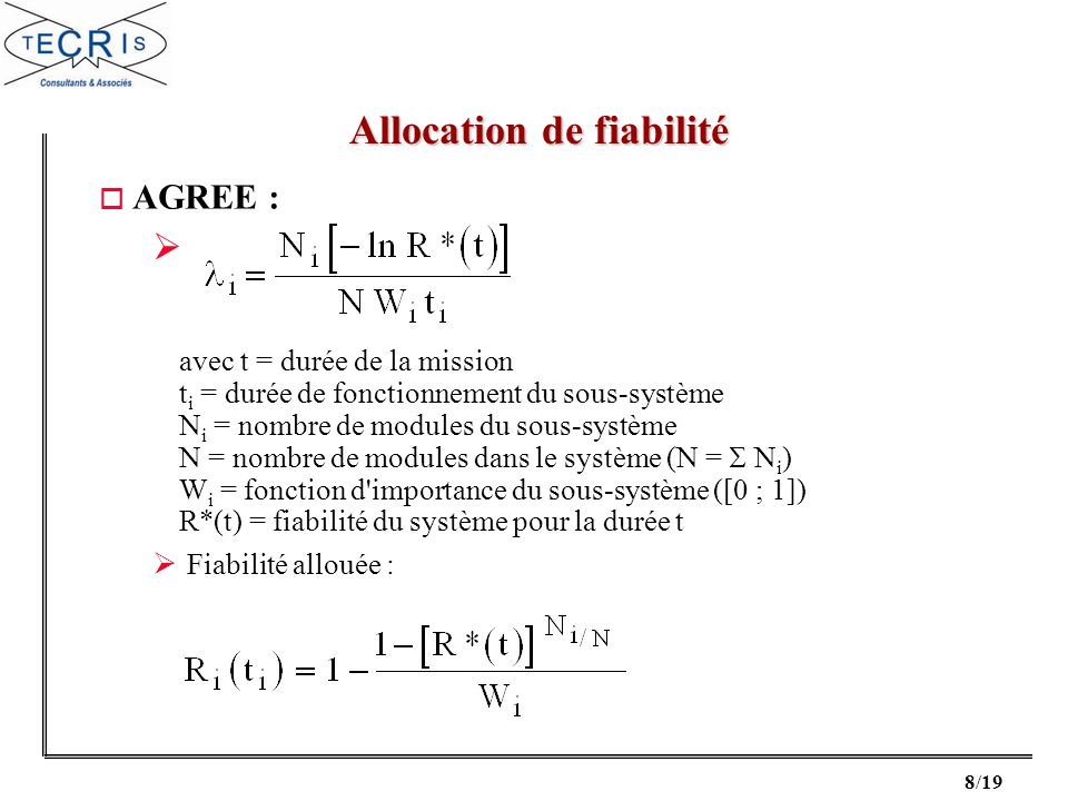 19/19 o Reliability and Maintainability of Electronic Systems J.E.